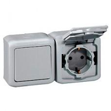 Блок выключатель 1кл+розетка с/з с крышкой Legrand Quteo серый IP44