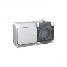 Блок-выкл. 1кл. проходной+розетка с/з Schneider Electric Этюд IP44 белый