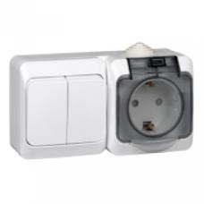 Блок-выкл. 2кл.+розетка с/з Schneider Electric Этюд IP44 белый