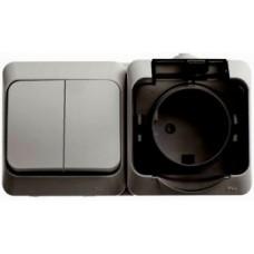 Блок-выкл. 2кл.+розетка с/з Schneider Electric Этюд IP44 серый