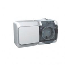 Блок-выкл. 1кл.+розетка с/з Schneider Electric Этюд IP44 серый