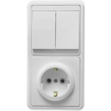 Блок выкл. 2кл.+ розетка с/з с защ.шторкой внутр. вертикальный TDM белый