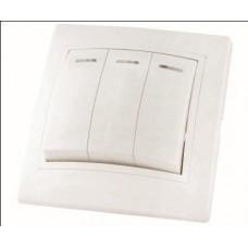 Выключатель 3кл. с подсветкой TDM Таймыр белый