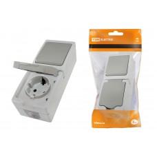 Блок выкл. 1кл.+розетка с крышкой вертикальный TDM Вуокса IP54 серый