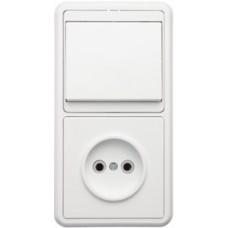 Блок выкл. 1кл.+ розетка с/з с защ.шторкой внутр. вертикальный TDM белый
