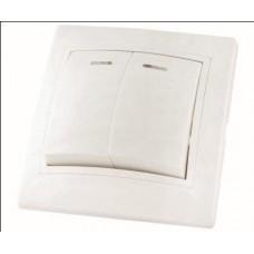 Выключатель 2кл. с подсветкой TDM Таймыр белый