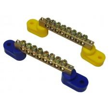 Шина нулевая 14/2 синего/желтого цвета (на 2-х изоляторах)