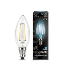 Лампа светодиодная свеча E14 5w 4100K Filament Gauss