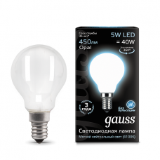 Лампа светодиодная шар E14 5w 4100K Filament Opal Gauss