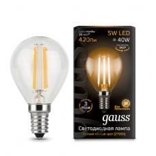 Лампа светодиодная шар E14 5w 2700K Filament Gauss