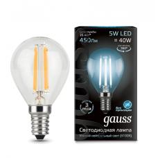 Лампа светодиодная шар E14 5w 4100K Filament Gauss