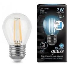 Лампа светодиодная шар E27 7w 4100K Filament GAUSS