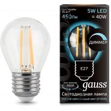 Лампа светодиодная шар E27 5w 4100K Filament dim GAUSS