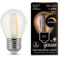 Лампа светодиодная шар E27 5w 2700K Filament dim GAUSS