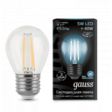 Лампа светодиодная шар E27 5w 4100K Filament GAUSS