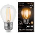 Лампа светодиодная шар E27 7w 2700K Filament GAUSS