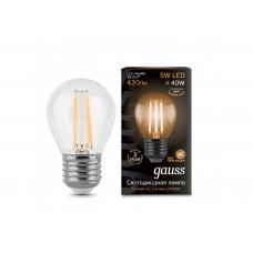 Лампа светодиодная шар E27 5w 2700K Filament GAUSS